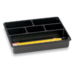 Utility Drawer Tray, 6 Compartments, Black