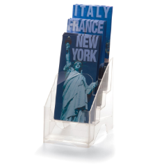 "Leaflet Holder, 4-Tier, 4 1/8""W Leaflets, Clear"