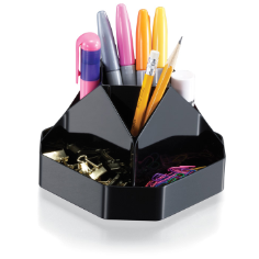 Recycled Compact Rotary Organizer, Black