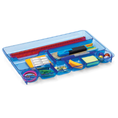 Blue Glacier Drawer Tray, 9 Compartments, Transparent Blue