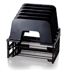 Recycled Large Incline Sorter with 2 Letter Trays, Black