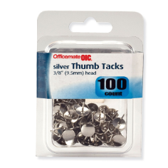 "Thumb Clips and Fasteners / Tacks, 3/8"" Head, 'Silver"
