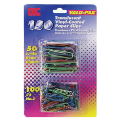 Translucent Vinyl Coated Clips and Fasteners / Paper Clips, Assorted (100 #2 & 50 Giant)