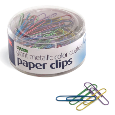 PVC Free Metallic Color Coated Clips, 200 Giant