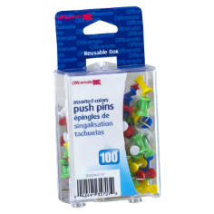 Clips and Fasteners / Push Pins, Assorted Colors, Peggable Reusable Box