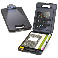 Deluxe Tablet Clipboard Case with LED Light, Charcoal