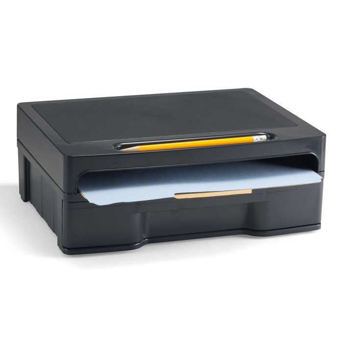 2200 Series Monitor Stand With Drawer Hipaa Black