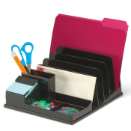 Front Load Sorter/Organizer with Pop-up Note Dispenser, Black