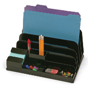 Side Load Sorter/Organizer with Pop-up Note Dispenser, Black