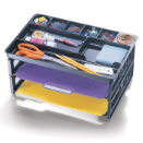 Drawer Organizer with 2 Letter Trays, Black