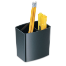 2200 Series Pencil Cup, 2 Compartment, Black
