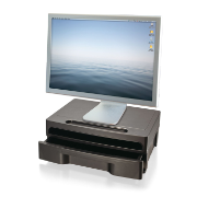 2200 Series Monitor Stand with Drawer, HIPAA, Black