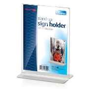 "Upright Vertical Sign Holder, 5""W x 7""H, Clear"
