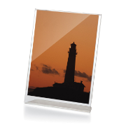 "Premium Slanted Vertical Sign/Photo Holder, 5""W x 7""H, Clear"