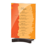 "Premium Double-Sided Sign Holder, 5""W x 7""H, Clear with Black Base"