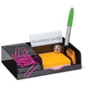 Magnetic Clip Dispenser/Business Card Holder, Black/Clear