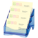Blue Glacier Business Card Holder, 4-Tier, Transparent Blue