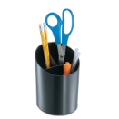 Recycled Big Pencil Cup, 3 Compartments, Black