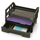 Recycled Drawer with Two Letter Trays, Black