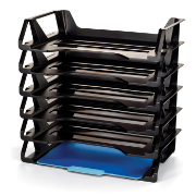 Achieva Side Load Letter Tray, Recycled, 6/ PK, Black