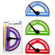 "Easy Grip Plastic Protractor with swing arm and 6"" ruler"