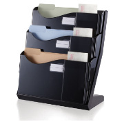 Grande Central Desktop Filing System, 3 Pockets, Black