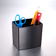 2200 Series Large Pencil Cup, 3 Stepped Compartments, Black