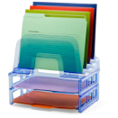 Blue Glacier Large Incline Sorter with 2 Letter Trays, Transparent Blue