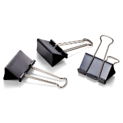 "Binder Clips, Medium, 1 1/4"" Wide, 3/CD, Black"
