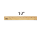 "18"" Single Metal Edge Wood Ruler"