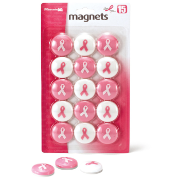 Breast Cancer Awareness Medium Size Magnets, 15/Pack, Pink/White