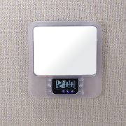Verticalmate Cubicle Mirror with Digital Clock, Frosty Clear