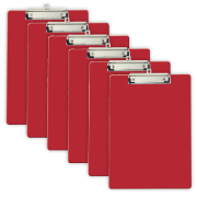 Recycled Plastic Clipboard, Letter Size, Red, Pack of 6