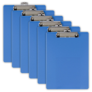 Plastic Clipboard, Letter Size, Arctic Blue, Pack of 6