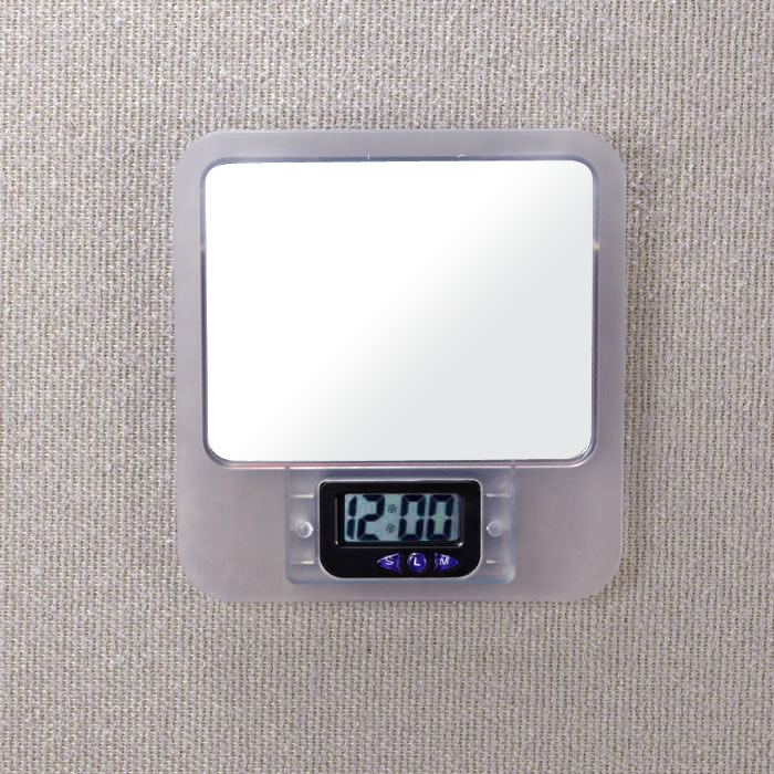 Verticalmate Cubicle Mirror With Digital Clock Frosty Clear