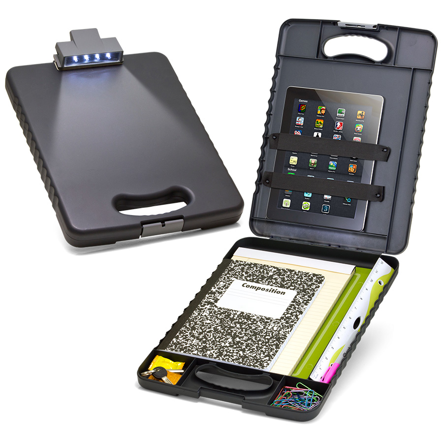 Deluxe Tablet Clipboard Case With Led Light Charcoal